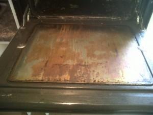 Grimey oven door